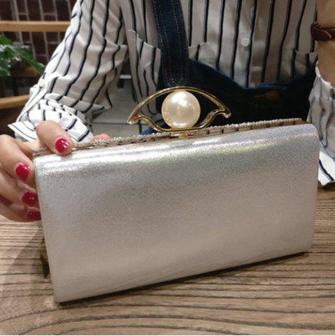 Outfits Beading Rhinestone Evening Bag with Chains - SILVER  Mobile