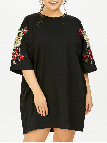 Outfit Plus Size Floral Embroidered Tunic T-Shirt Dress With Pockets BLACK ONE SIZE