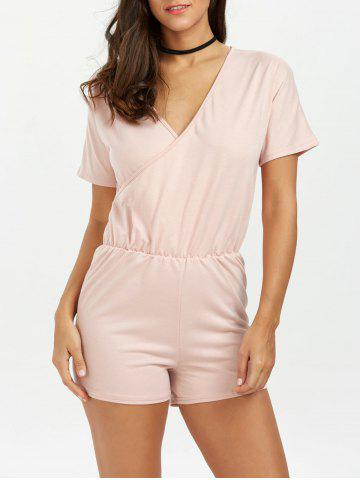 Plunging Neck Ruched Surplice Short Romper - Light Pink - S