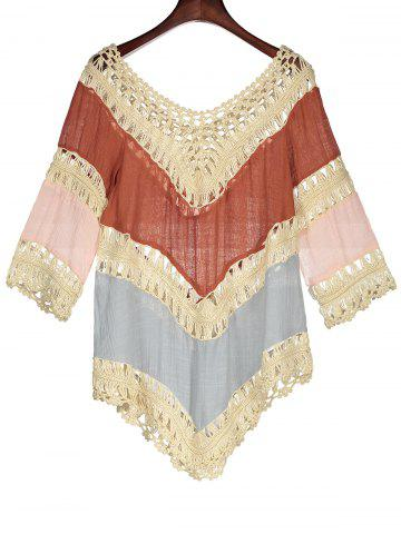 Cheap Color Block Crochet Beach Tunic Cover Up