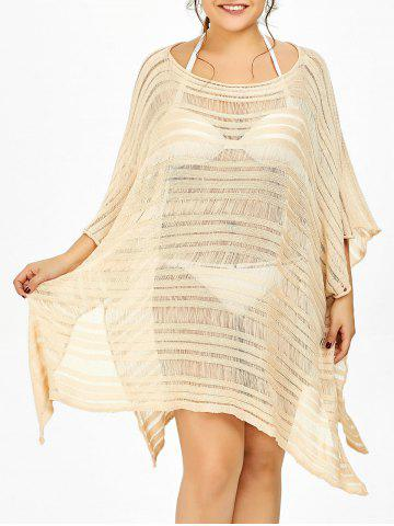 Batwing Sleeve Plus Size Sheer Cover Ups for Swimsuits - Light Yellow - 3xl