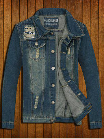 Affordable Flap Pocket Destroyed Denim Vest - 2XL DENIM BLUE Mobile