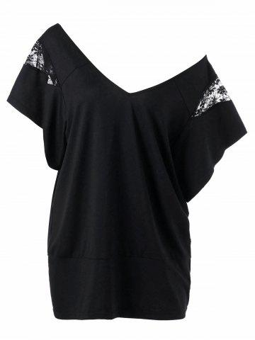 Affordable Lace Insert Plus Size T-Shirt