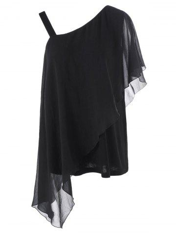 Chic Plus Size Skew Collar Overlay T-Shirt