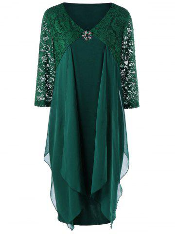 Chic Lace Trim Drape Front Plus Size Dress BLACKISH GREEN 5XL