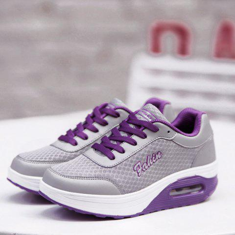 Unique Mesh Colour Block Breathable Athletic Shoes - 38 PURPLE Mobile