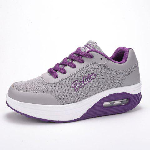 Chic Mesh Colour Block Breathable Athletic Shoes - 38 PURPLE Mobile