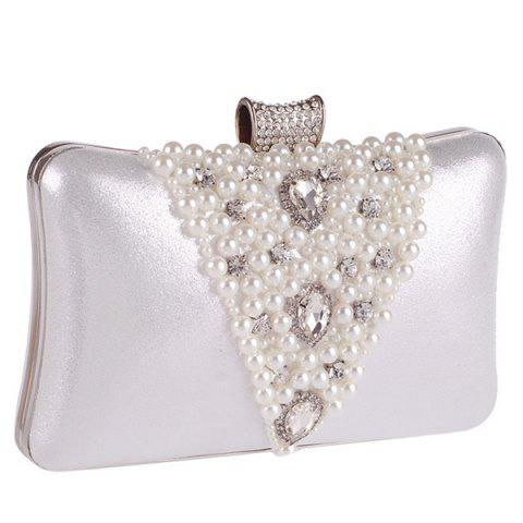 Unique Rhinestone Beaded Evening Bag - SILVER  Mobile