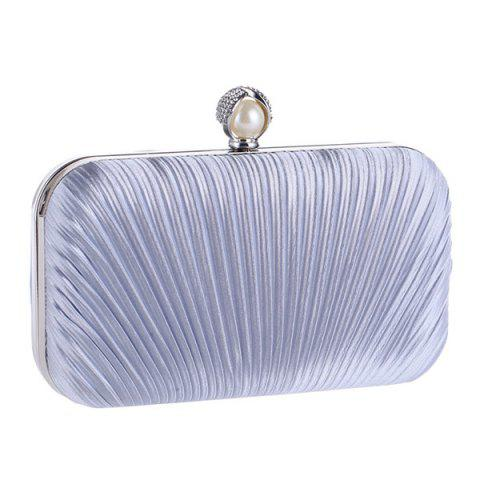 New Pleated Satin Faux Pearl Evening Bag - SILVER  Mobile