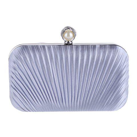 Store Pleated Satin Faux Pearl Evening Bag - SILVER  Mobile