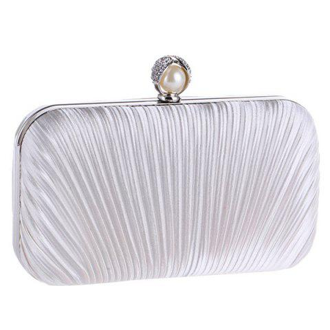 Store Pleated Satin Faux Pearl Evening Bag - WHITE  Mobile