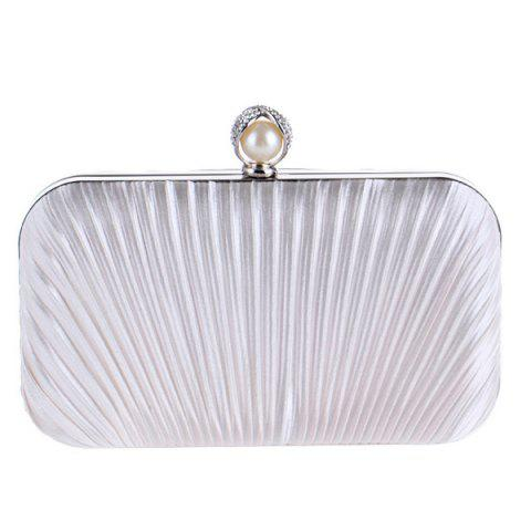 Shop Pleated Satin Faux Pearl Evening Bag - WHITE  Mobile