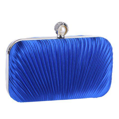 Hot Pleated Satin Faux Pearl Evening Bag BLUE