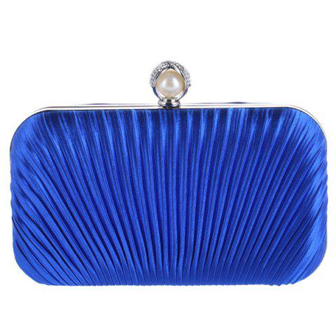 Chic Pleated Satin Faux Pearl Evening Bag - BLUE  Mobile