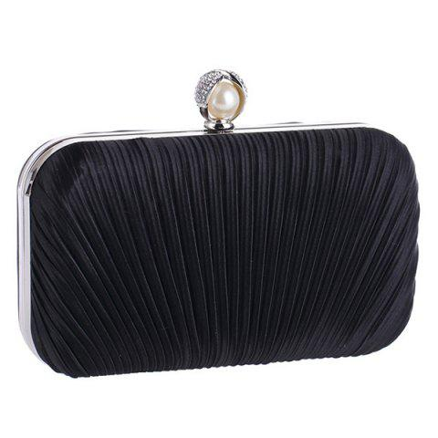 Chic Pleated Satin Faux Pearl Evening Bag