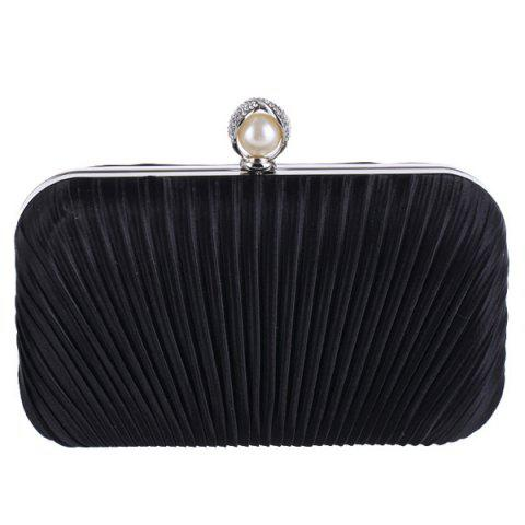 Discount Pleated Satin Faux Pearl Evening Bag - BLACK  Mobile
