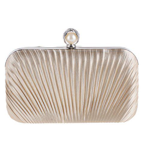 New Pleated Satin Faux Pearl Evening Bag - APRICOT  Mobile