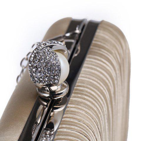 Discount Pleated Satin Faux Pearl Evening Bag - APRICOT  Mobile