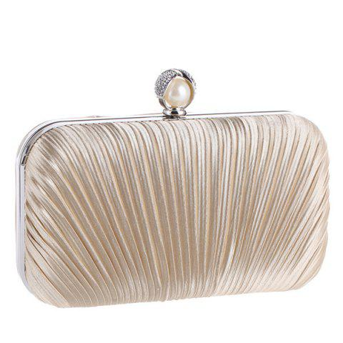 Affordable Pleated Satin Faux Pearl Evening Bag - APRICOT  Mobile