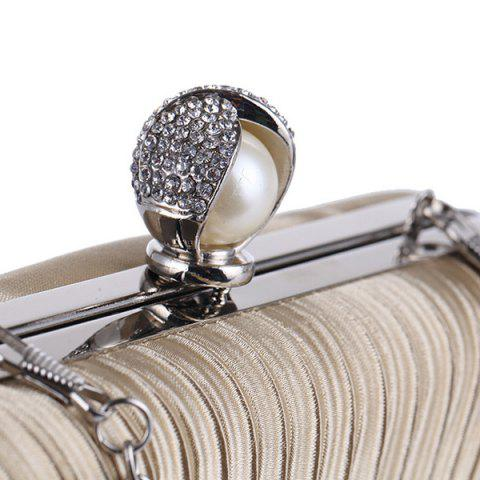 Chic Pleated Satin Faux Pearl Evening Bag - APRICOT  Mobile