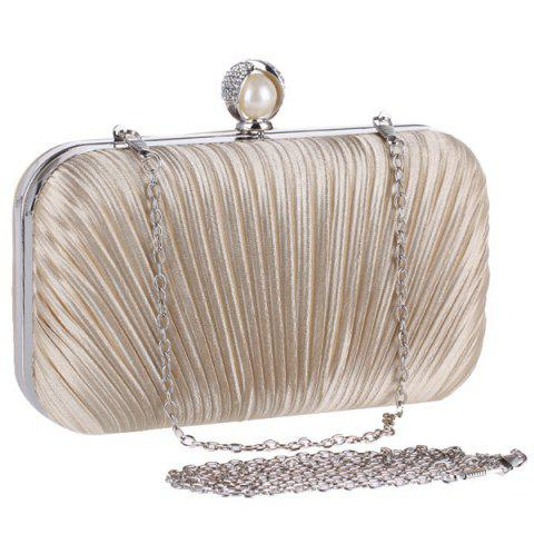 Store Pleated Satin Faux Pearl Evening Bag - APRICOT  Mobile