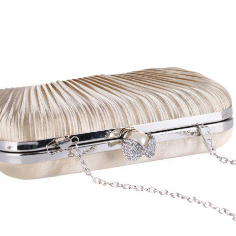Shops Pleated Satin Faux Pearl Evening Bag - APRICOT  Mobile