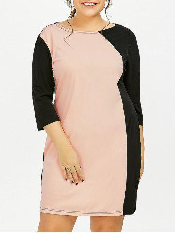 Plus Size Color Block Sheath Dress With Sleeves - Pink - 4xl
