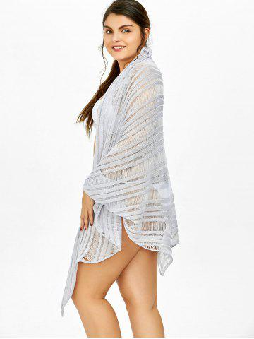 Fashion Asymmetric Batwing Sleeve Plus Size Sheer Cover-Up - 2XL LIGHT PURPLE Mobile