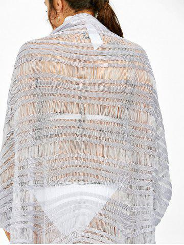 Outfit Asymmetric Batwing Sleeve Plus Size Sheer Cover-Up - 2XL LIGHT PURPLE Mobile