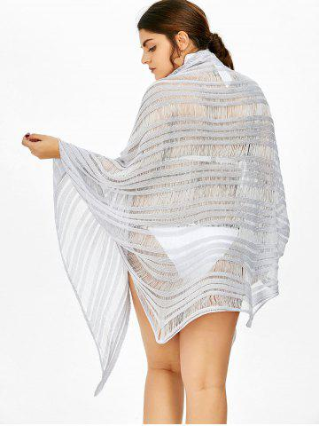 Cheap Asymmetric Batwing Sleeve Plus Size Sheer Cover-Up - 2XL LIGHT PURPLE Mobile