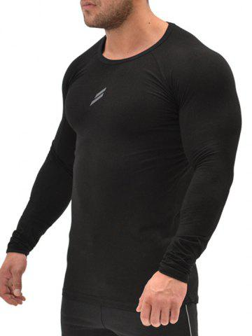 Unique Stretch Muscle Long Sleeve Tee - 2XL BLACK Mobile