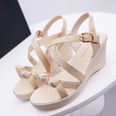 Affordable Wedge Heel Knots Sandals - 40 APRICOT Mobile