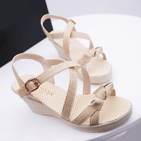 Outfit Wedge Heel Knots Sandals - 40 APRICOT Mobile
