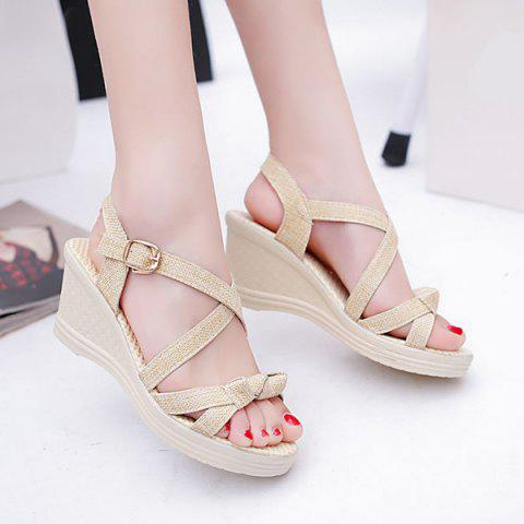 Discount Wedge Heel Knots Sandals - 40 APRICOT Mobile