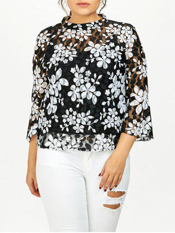 Best Plus Size Printed Sheer Lace Blouse With Cami Top WHITE 5XL