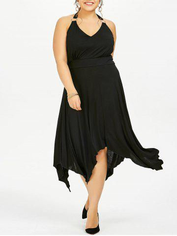 Halter Asymmetric Plus Size Swing Dress - Black - 3xl