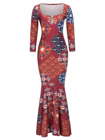 Unique Tribal Print Long Fitted Mermaid Prom Dress RED 2XL