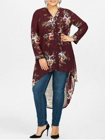 Online Chiffon Floral Plus Size Top WINE RED 5XL
