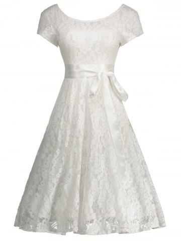 Floral Wedding Party A Line Lace Cocktail Dress - White - M