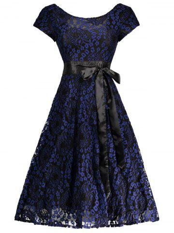 Hot Floral Wedding Party A Line Lace Cocktail Dress BLUE AND BLACK M