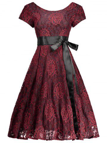 Fashion Floral Wedding Party A Line Lace Cocktail Dress RED WITH BLACK XL