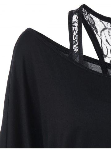 Online Plus Size Skew Collar Lip Graphic T-Shirt - 5XL BLACK Mobile