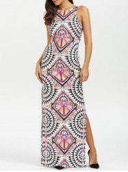 Geometric Patchwork Print High Slit Maxi Dress