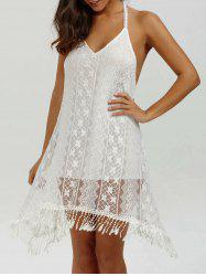 Halter Backless Summer Mini Lace Club Dress - WHITE L