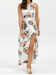 Floral Print Backless Maxi Evening Dress
