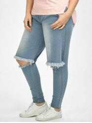 Frayed Plus Size High Waisted Distressed Jeans