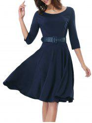 Office Belted Skater Going Out Swing Dress - DEEP BLUE 2XL