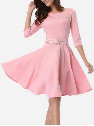 Belted Skater Going Out Swing Dress - PINK 2XL