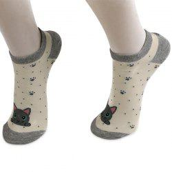 Striped Cartoon Cat Patterned Ankle Socks - GRAY
