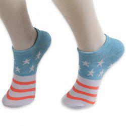 Pentagram Knitting Striped Ankle Socks
